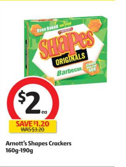 Coles Arnott's Shapes Crackers 160g-190g