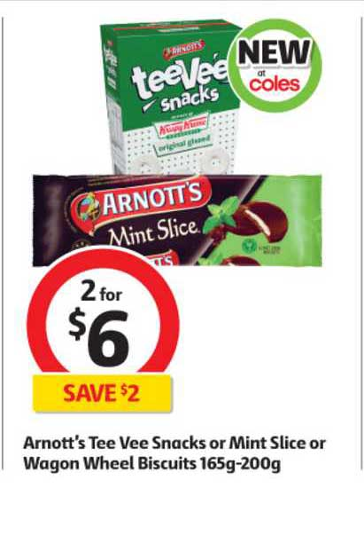 Coles Arnott's Tee Vee Snacks Or Mint Slice Or Wagon Wheel Biscuits 165g-200g