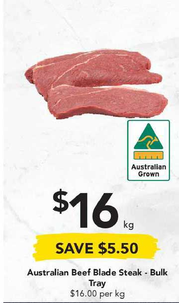 Drakes Australian Beef Blade Steak - Bulk Tray