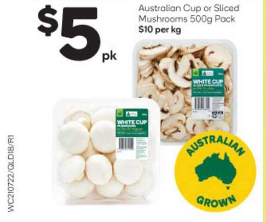 Woolworths Australian Cup Or Sliced Mushrooms