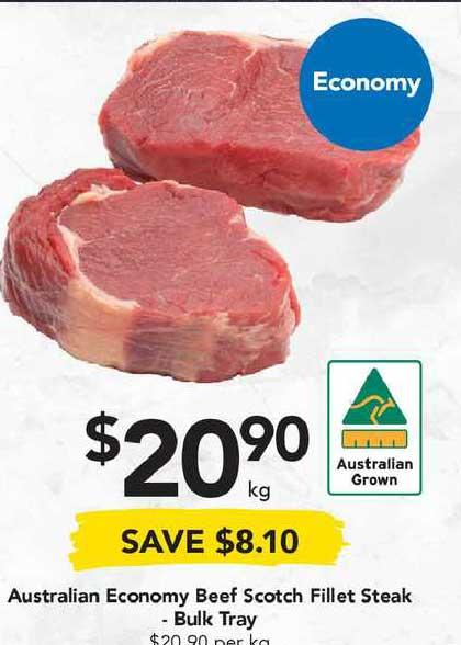 Drakes Australian Economy Beef Scotch Fillet Steak - Bulk Tray