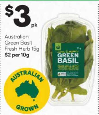 Woolworths Australian Green Basil Fresh Herb