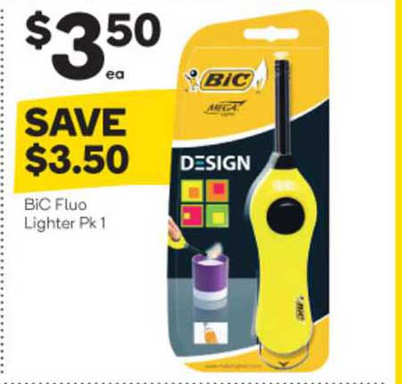 Woolworths Bic Fluo Lighter Pk 1