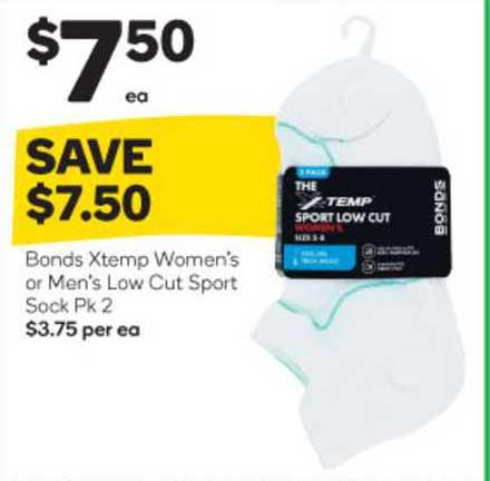 Woolworths Bonds Xtemp Women's Or Men's Low Cut Sport Sock