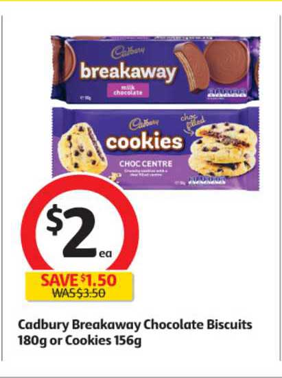 Coles Cadbury Breakaway Chocolate Biscuits 180g Or Cookies 156g