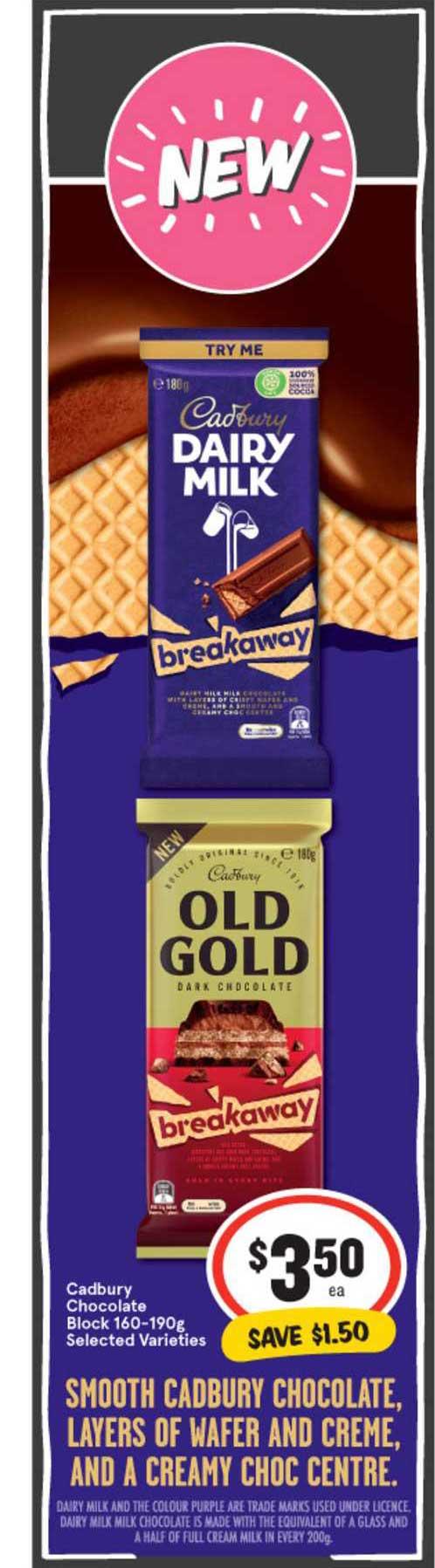 IGA Cadbury Chocolate Block 160-190g