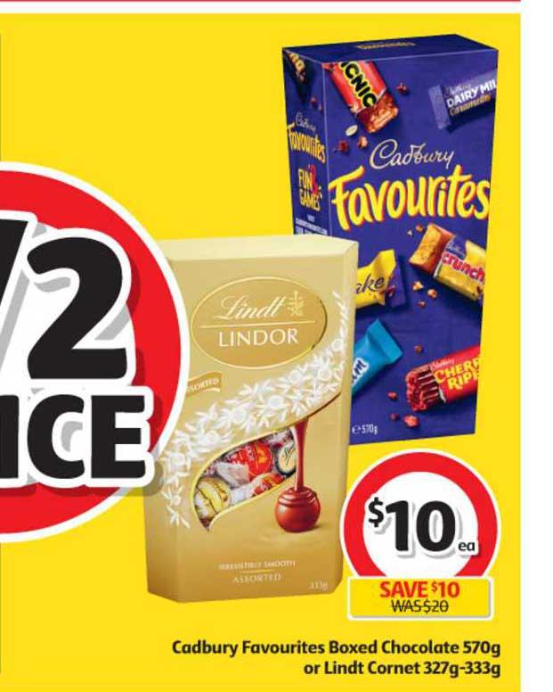 Coles Cadbury Favourites Boxed Chocolate 570g Or Lindt Cornet 327g-33g