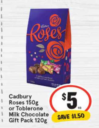 IGA Cadbury Roses 150g Or Tobletron Milk Chocolate Gift Pack 120g
