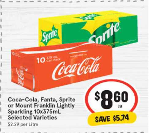 IGA Coca-Cola, Fanta, Sprite Or Mount Franklin Lightly Sparkling 10x375mL
