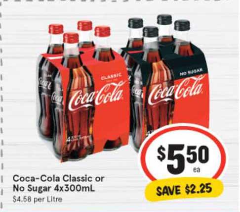 IGA Coca-Cola Classic Or No Sugar 4x300mL