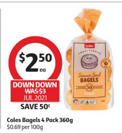 Coles Coles Bagels 4 Pack 360g