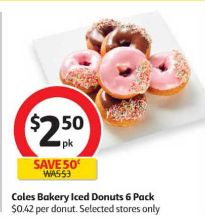 Coles Coles Bakery Iced Donuts 6 Pack