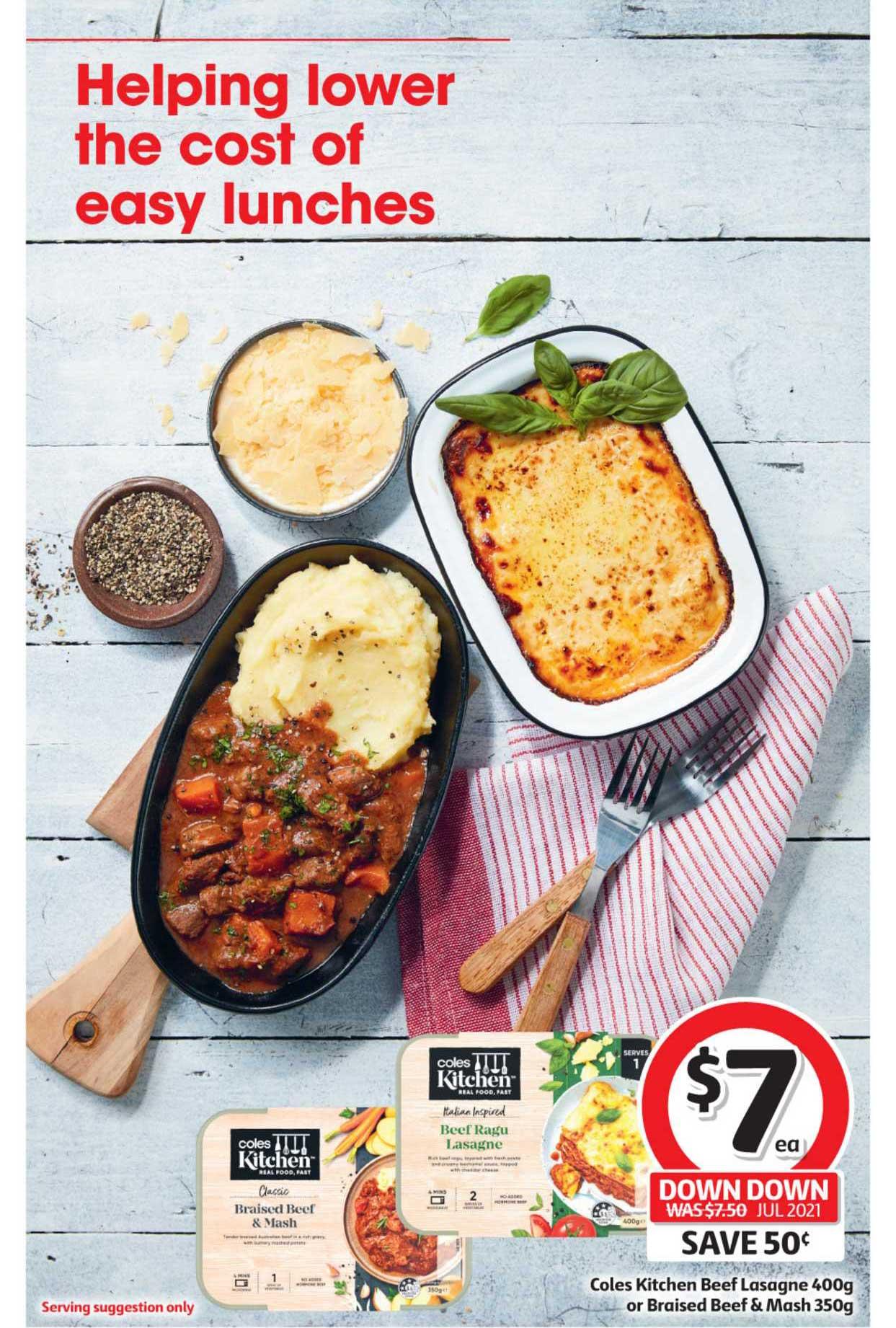 Coles Coles Kitchen Beef Lasagne 400g Or Braised Beef & Mash 350g