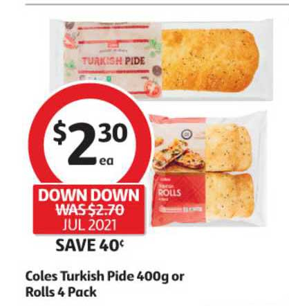 Coles Coles Turkish Pide 400g Or Rolls 4 Pack