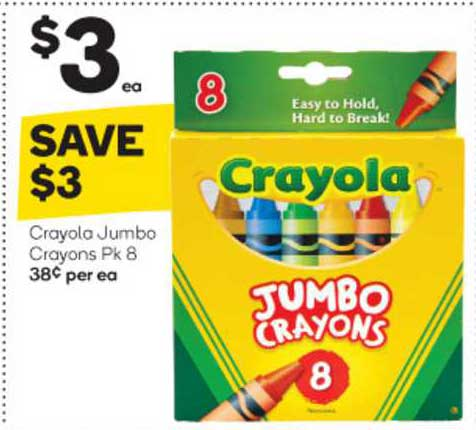 Woolworths Crayola Jumbo Crayons Pk 8