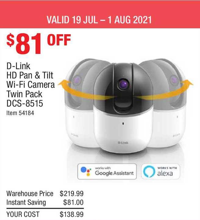 Costco D-link Hd Pan & Tilt Wi-fi Camera Twin Pack Dcs-8515