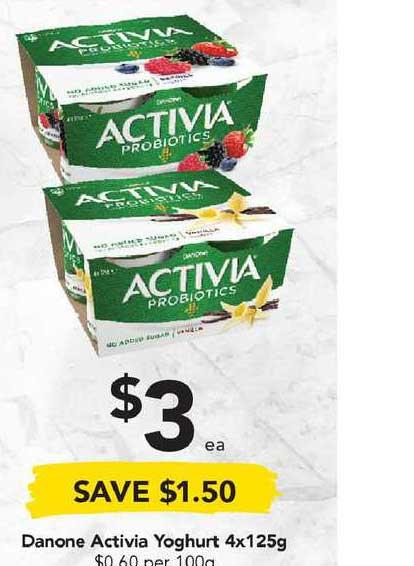 Drakes Danone Activia Yoghurt 4x125g