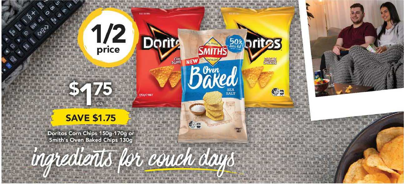 Drakes Doritos Corn Chips 150g-170g Or Smith's Oven Baked Chips 130g