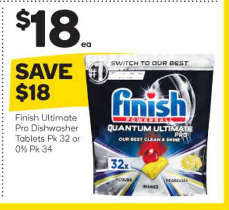 Woolworths Finish Ultimate Pro Dishwasher Tablets Or 0% Pk 34