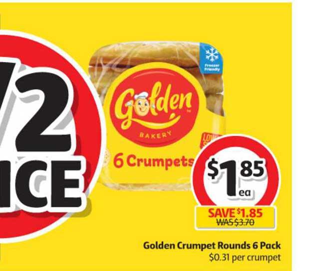 Coles Golden Crumpet Rounds 6 Pack