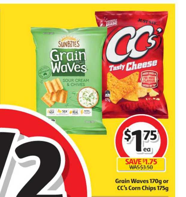 Coles Grain Waves 170g Or CC's Corn Chips 175g