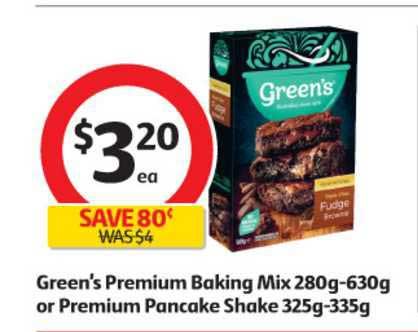 Coles Green's Premium Baking Mix Or Premium Pancake Shake