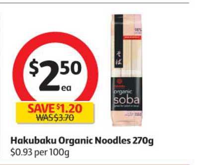Coles Hakubaku Organic Noodles