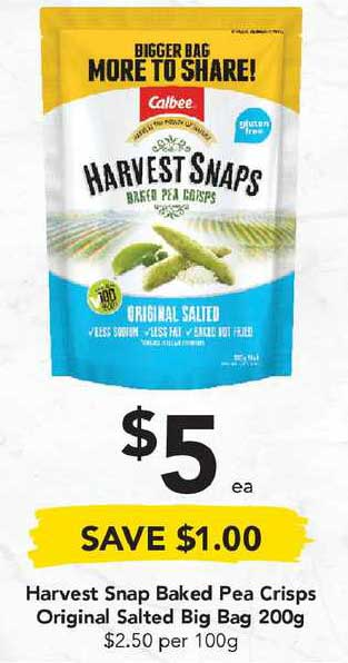 Drakes Harvest Snap Baked Pea Crisps Original Salted Big Bag 200g