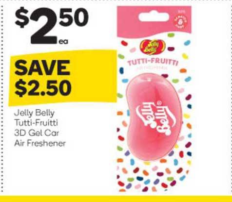 Woolworths Jelly Belly Tutti Fruitti 3d Gel Car Air Freshener