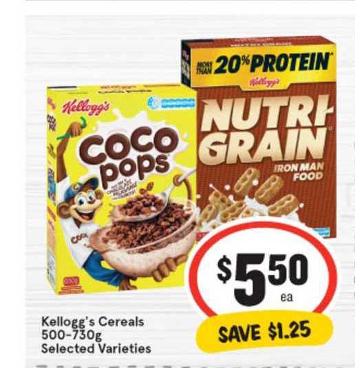 IGA Kellogg's Cereals 500-730g