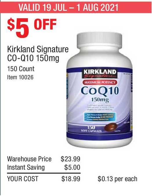 Costco Kirkland Signature Co-q10 150mg