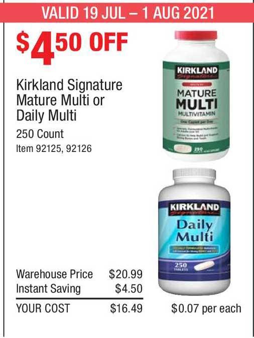 Costco Kirkland Signature Mature Multi Or Daily Multi