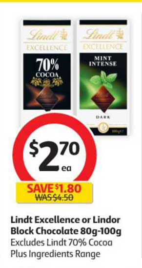 Coles Lindt Excellence Or Lindor Block Chocolate