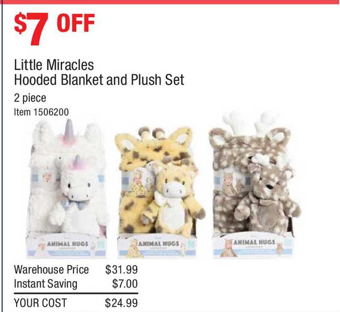 Costco Little Miracles Hooded Blanket And Plush Set