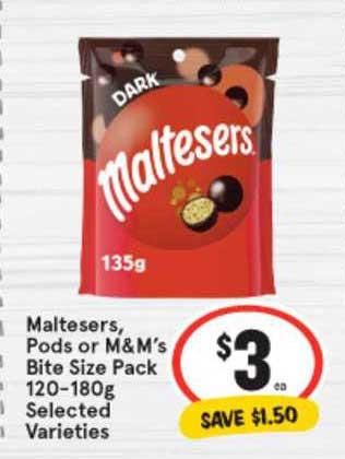 IGA Maltesers, Pods Or M&M's Bite Size Pack 120-180g