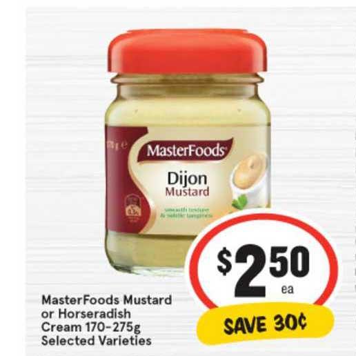 IGA MasterFoods Mustard Or Horseradish Cream 170-275g