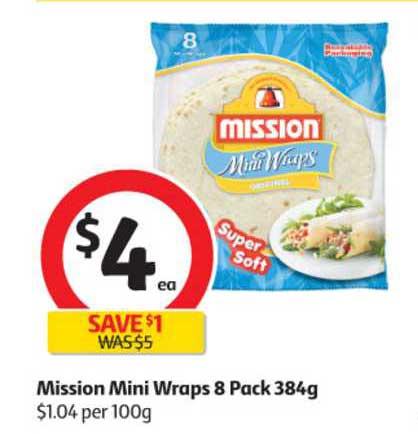 Coles Mission Mini Wraps 8 Pack 384g