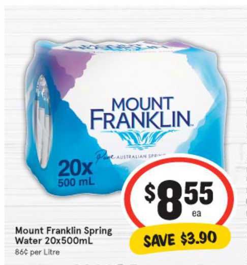 IGA Mount Franklinn Spring Water 20x500mL