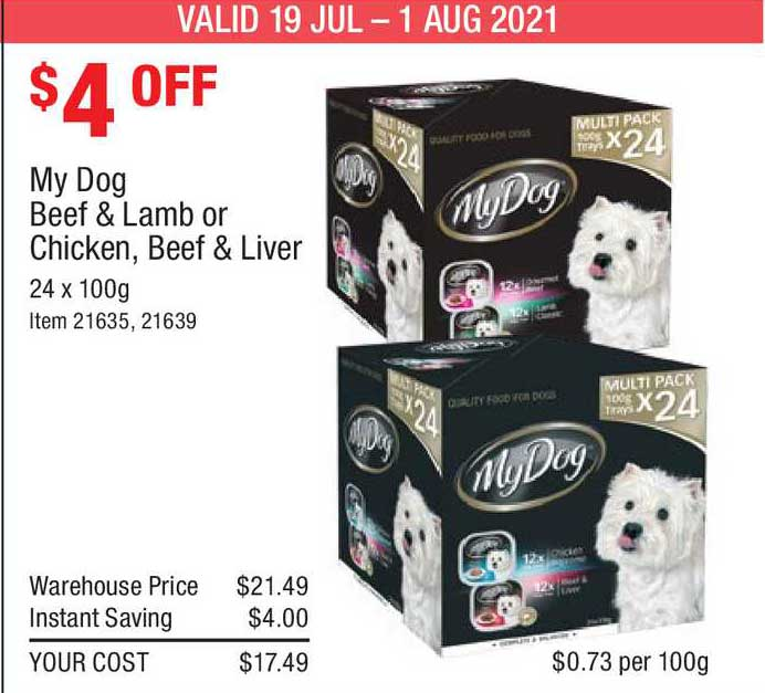 Costco My Dog Beef & Lamb Or Chicken, Beef & Liver