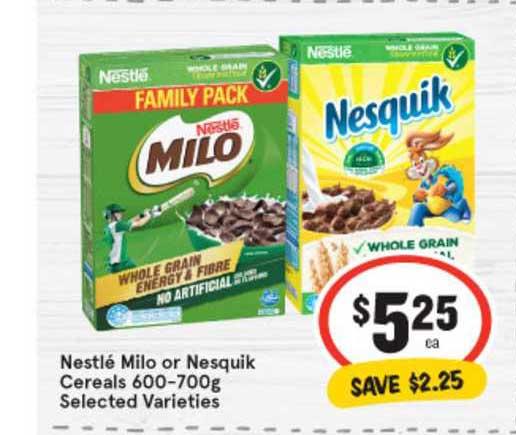 IGA Nestlé Milo Or Nesquik Cereals 600-700g