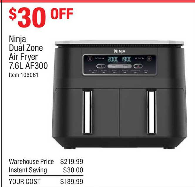 Costco Ninja Dual Zone Air Fryer 7.6l Af300