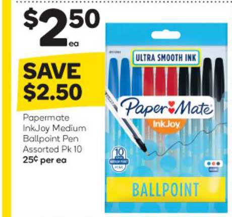 Woolworths Papermate Inkjay Medium Ballpoint Pen Assorted Pk 10