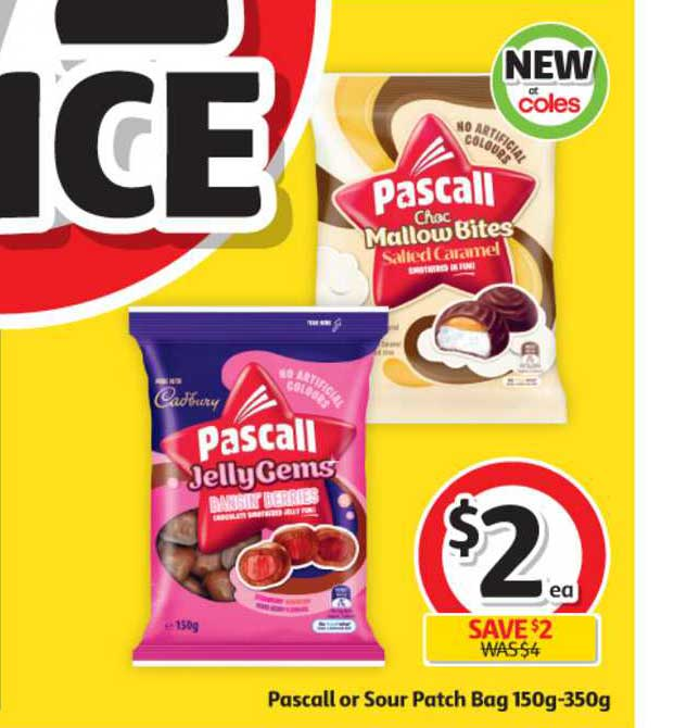 Coles Pascall Or Sour Patch Bag 150g-350g
