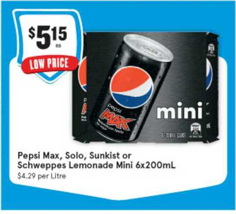IGA Pepsi Max, Solo, Sunkist Or Schweppes Lemonade Mini 6x200mL
