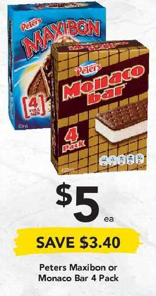 Drakes Peters Maxibon Or Monaco Bar 4 Pack