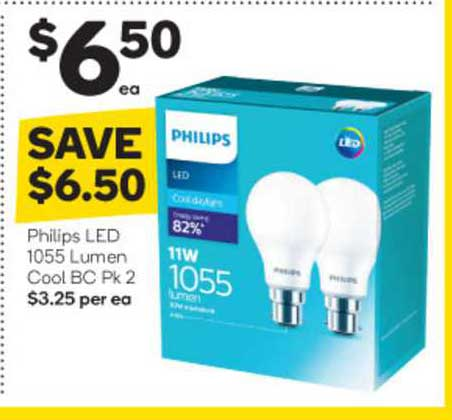 Woolworths Philips Led 1055 Lumen Cool Bc Pk 2
