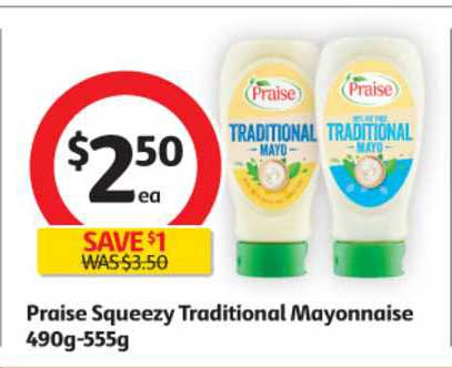 Coles Praise Squeezy Traditional Mayonnaise