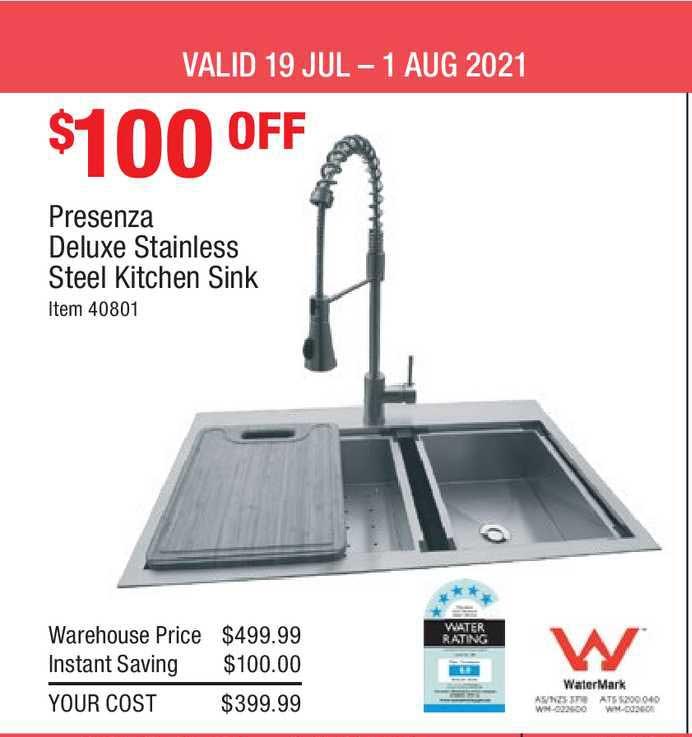 Costco Presenza Deluxe Stainless Steel Kitchen Sink