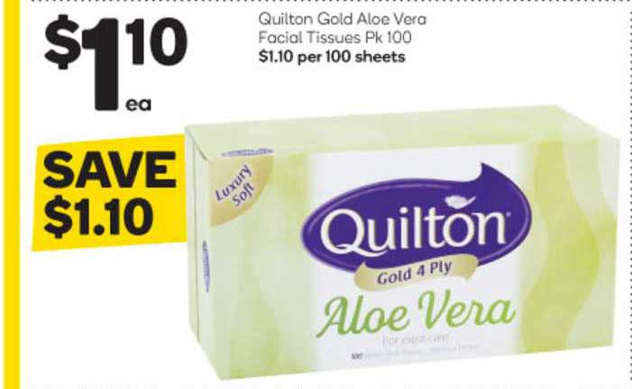 Woolworths Quilton Gold Aloe Vera Facial Tissues Pk 100