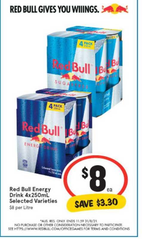 IGA Red Bull Energy Drink 4x250mL